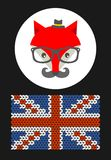 Hipster fox with the flag of Grait Britain. Stock Photography