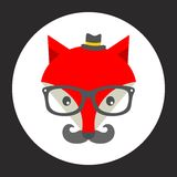 Hipster fox label. Stock Image
