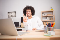Hipster freelance man working at home Stock Images