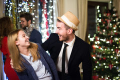 Hipster friends celebrating New Years Eve together, dancing. Royalty Free Stock Photography