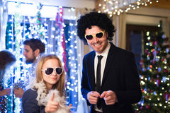 Hipster friends celebrating New Years Eve together, dancing. Stock Photo