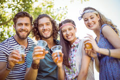 Hipster friends having a beer together Royalty Free Stock Image