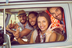 Hipster friends on road trip stock photos