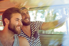 Hipster friends on road trip royalty free stock photo