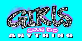 Hipster funky t-shirt  girls motivation print in graffiti urban Royalty Free Stock Photo
