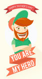 Hipster funny bearded man. Greeting card for father's day Royalty Free Stock Photos