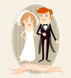 Hipster funny couple just married. Flat style Royalty Free Stock Images