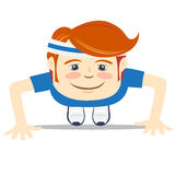 Hipster funny doing push-ups. Flat style Royalty Free Stock Images