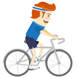 Hipster funny man cycling. Flat style Royalty Free Stock Photography