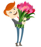 Hipster funny man holding flowers. Flat style Royalty Free Stock Photos