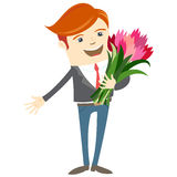 Hipster funny man holding flowers. Flat style Stock Photo