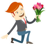 Hipster funny man kneeling holding flowers. Flat style Royalty Free Stock Photography