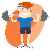 Hipster funny man lifting barbell. Flat style Stock Image