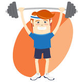 Hipster funny man lifting barbell. Flat style Stock Photography