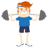 Hipster funny man lifting barbell. Flat style Stock Images