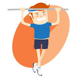 Hipster funny man pulling up on horizontal bar. Flat style Royalty Free Stock Images