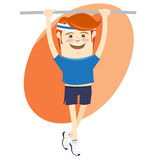 Hipster funny sportsman hanging on horizontal bar. Flat style Stock Photography