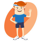 Hipster funny sportsman waving. Flat style Stock Image