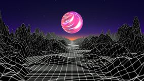 Hipster game from 80`s cyber futuristic motion graphics. Digital oldschool game landscape wave animation with moon and. Space mountains. Laser grid on terrain stock illustration