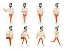 Hipster Geek Hipster in Different Poses Mobile Phone Coffee Walk Stand Run Wealthy Cartoon Businessman Character Icons Royalty Free Stock Image