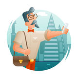 Hipster Geek Mobile Phone Selfie Businessman Cartoon Character Icon City Background Flat Design Vector Illustration Stock Photos