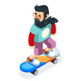 Hipster Geek Scater Ride Scateboard Cartoon Character Icon Isometric Design Vector Illustration Royalty Free Stock Image