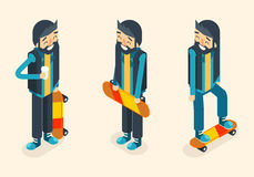 Hipster Geek Scater Ride Scateboard Cartoon Character Icon Isometric Design Vector Illustration Stock Photo