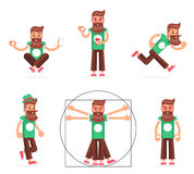 Hipster Geek Stand Run Walk Meditate New Smartphone Mobile Apps Technology Enlightenment Cartoon Character Icons Symbol Royalty Free Stock Photography