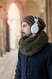 Hipster generation listening music instagram style toned Stock Photography