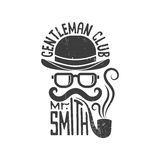 Hipster gentlemen club. Logo. Bowler hat, glasses, mustache and pipe. Vector illustration. Worn texture on a separate layer and can be easily disabled Royalty Free Stock Image