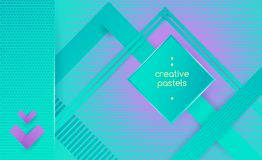 Hipster geometric abstract background. Hipster modern geometric abstract background. Bright creative pastels banner with blue stripes, textured background Royalty Free Stock Images