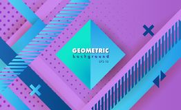 Hipster geometric abstract. Hipster modern geometric abstract background. Bright Ultra Violet banner with blue stripes, textured background. Business template Royalty Free Stock Photography