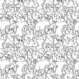 Hipster ghosts seamless pattern black and white Stock Photos