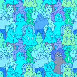 Hipster ghosts seamless pattern blue Royalty Free Stock Photo