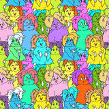 Hipster ghosts seamless pattern colorful Royalty Free Stock Photos