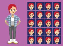 Hipster Ginger Girl Cartoon Character Emotion faces Vector Illustration Royalty Free Stock Photos