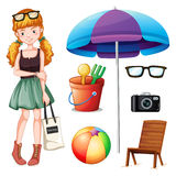 Hipster girl and beach objects. Illustration Royalty Free Stock Photos