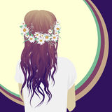 Hipster girl. With beautiful hair, vector illustration Royalty Free Stock Photo