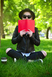 Hipster girl  with book Royalty Free Stock Image