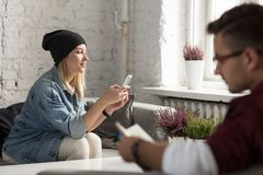 Hipster girl in cafe Stock Image