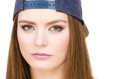 Hipster girl with cap. Royalty Free Stock Photography