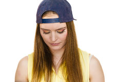 Hipster girl with cap. Stock Photography