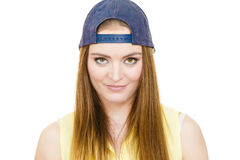 Hipster girl with cap. Clothing people concept. Hipster girl with cap. Good looking young lady with beautiful colourful make up Royalty Free Stock Image