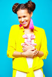 Hipster girl in casual colorful summer clothes in studio Stock Photo