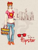 Hipster girl city Royalty Free Stock Images