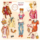 Hipster girl clothes set Royalty Free Stock Photos