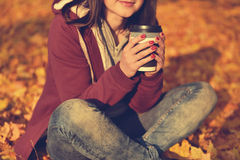 Hipster girl with coffee cup Stock Photo