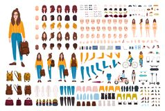 Hipster girl creation kit. Set of flat female cartoon character body parts, facial gestures, hairstyles, trendy clothing