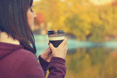 Hipster girl drinking coffee Royalty Free Stock Image