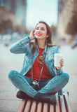 Hipster girl drinking coffee Stock Image